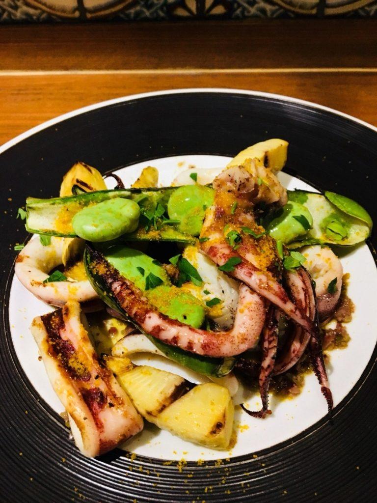 タケノコとソラマメの料理